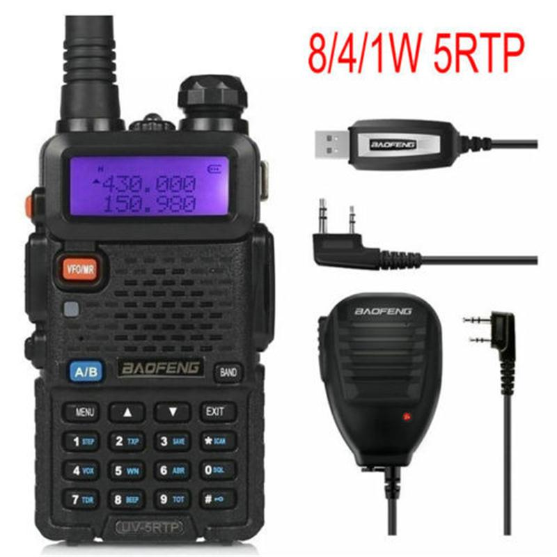 Baofeng UV-5RTP 136-174/400-520 MHz Dual-Band FM1/4/8W Two-way Ham Radio Walkie Talkie With Remote Speaker Programming Cable