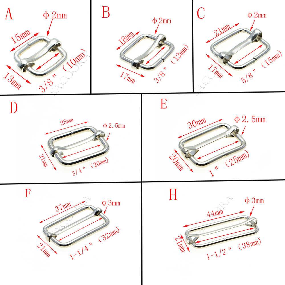 5 قطعة/الحزمة الشرائح المعدنية ثلاثي الانزلاقات الأسلاك شكلت الأسطوانة دبوس الابازيم حزام المنزلق الضابط الابازيم