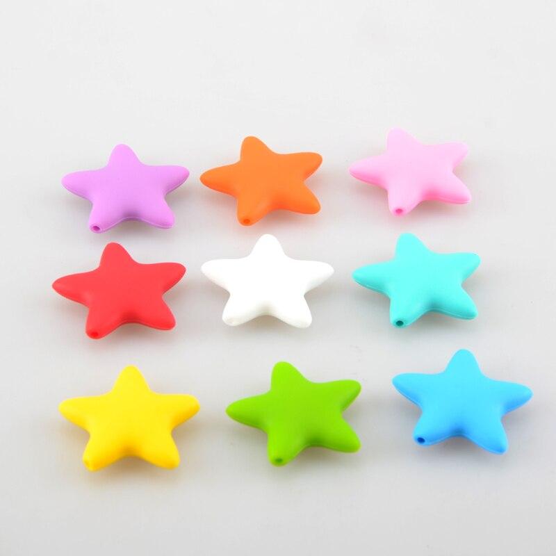Prix pour 20 pcs/lot Grand Silicone Étoiles Perles de Dentition 45mm DIY Collier Bracelet B36965103