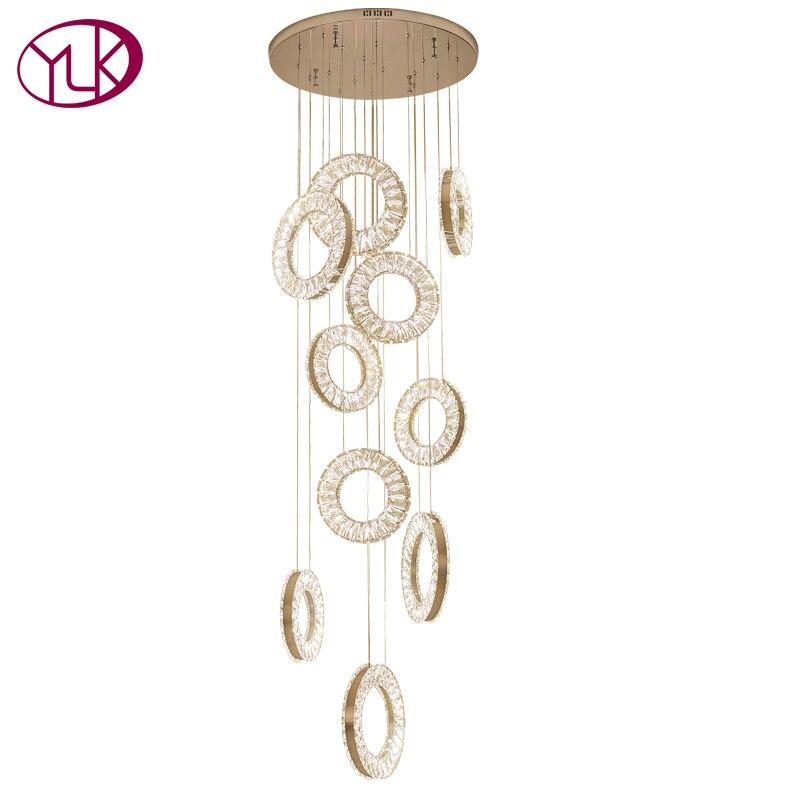 Youlaike Lusso Moderno Lampadario Illuminazione A LED Lunga Scala Attaccatura Di Cristallo Lampada AC110-240V Lustre De Cristal