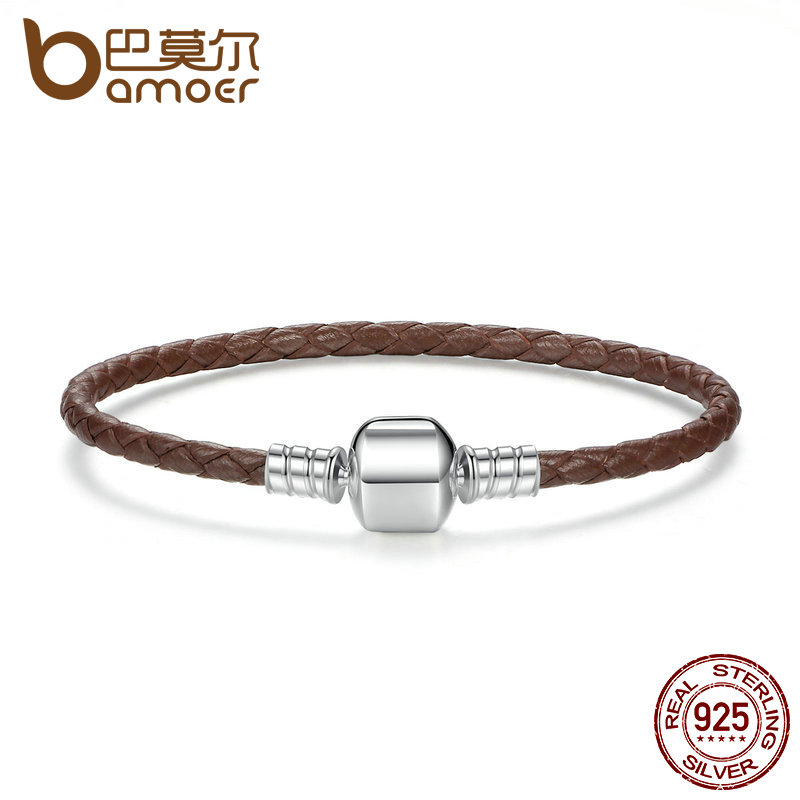 BAMOER Authentic 925 Sterling Silver Brown Braided Rope Genuine Leather Snake Chain Bracelets for Women Fine Jewelry PAS909 nidin 2017 men jewelry brown genuine leather bracelets