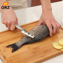 ORZ Kitchen Tools Cleaning Fish Skin Stainless Steel Fish Scraper Brush Remover Cleaner Descaler Skinner Scaler Fishing Tools