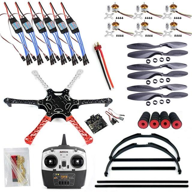 F550 Drone FlameWheel Kit With KK 2.3 ESC Motor Carbon Fiber Propellers + RadioLink 6CH TX RX+Tall Landing Skid PTZ F05114-N rtf full kit hmf y600 tricopter 3 axis copter hexacopter apm2 8 gps drone with motor esc at10 tx