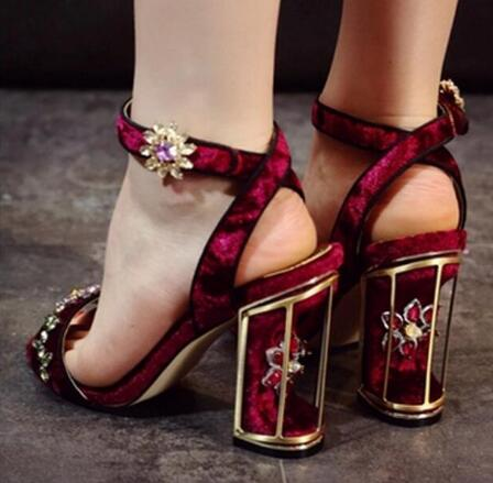 2016 New Fashion Women One Strap Rhinestone Thick Strange Heel Sandals Ankle Strap Crystal Red Black High Heel Sandals