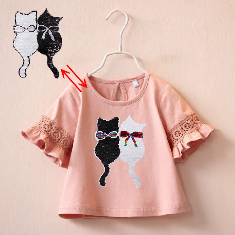 Changing Summer Girl T Shirt Reversible Sequin Cute Cat Tee Children Half Sleeve Switchable Fashion Tshirt Kids Leisure ClothesChanging Summer Girl T Shirt Reversible Sequin Cute Cat Tee Children Half Sleeve Switchable Fashion Tshirt Kids Leisure Clothes