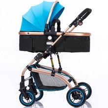 Foldable High Landscape Baby Stroller Reverse Handle Armrest Bottom Basket Newbo