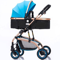 Foldable High Landscape Baby Stroller Reverse Handle Armrest Bottom Basket Newborn Baby Pushchairs Luxury Infant Baby Prams