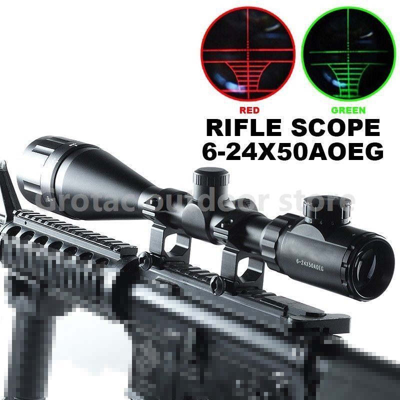 Optics Hunting Rifle Scope 6-24x50 AOE Red & Green Illuminated Crosshair Gun Scopes Riflescopes w/ Free Mounts vector optics warrior 6 24x50 aoe hunting rifle scope 1 inch monotube with r14 range finder reticle whole red green illuminated