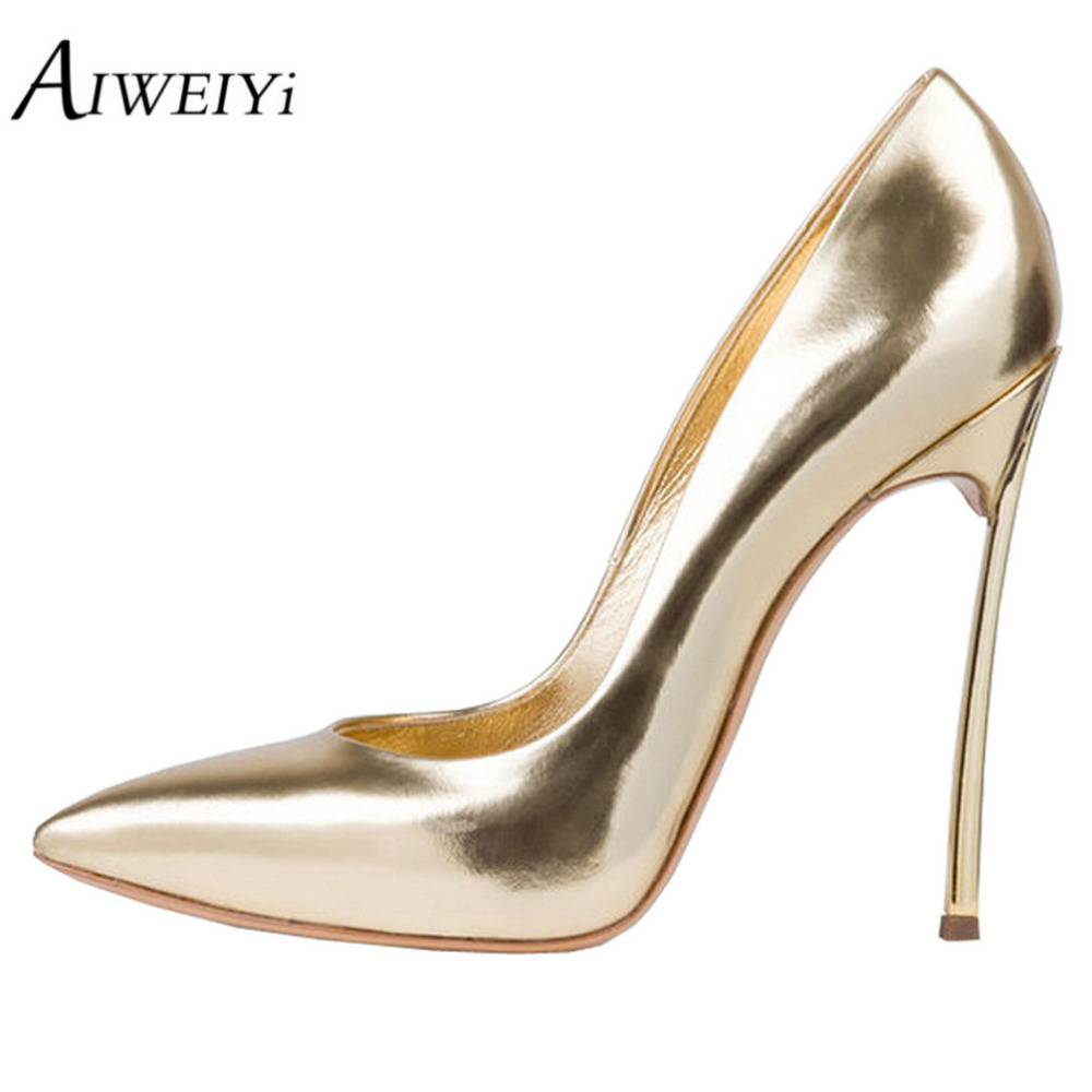 AIWEIYi Women's Pumps Shoes 100% Metal Heel 12cm High Heel Pointed Toe Stilettos Pumps Ladies Wedding Party Pumps Slip On Heels apoepo women high heel pointed toe slip on sexy pumps nude high heel wedding bride shoes concise style stilettos m063