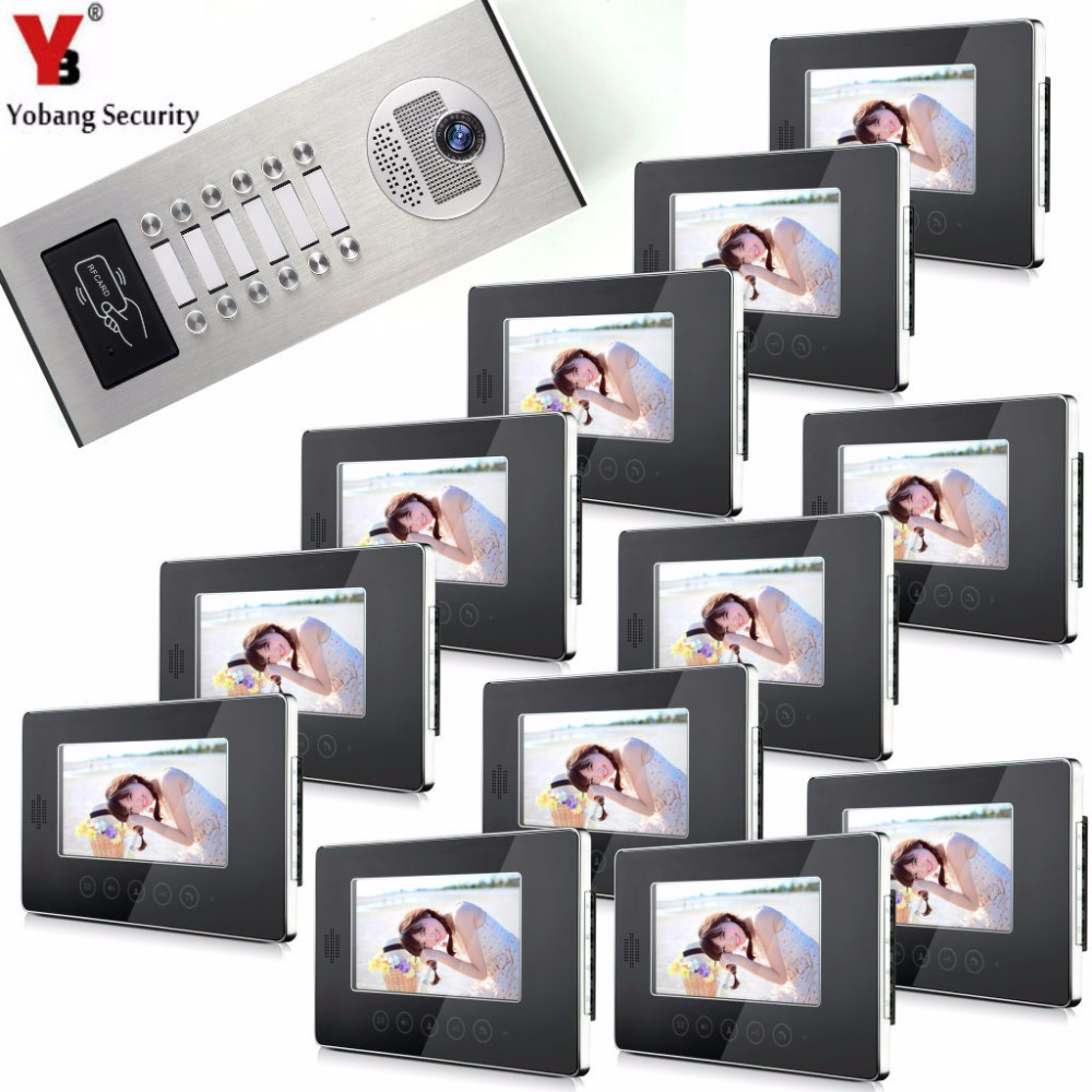 YobangSecurity Video Door Intercom Entry System 7Inch Video Door Phone Doorbell Chime RFID Access Control 1 Camera 12 Monitor 7 inch password id card video door phone home access control system wired video intercome door bell