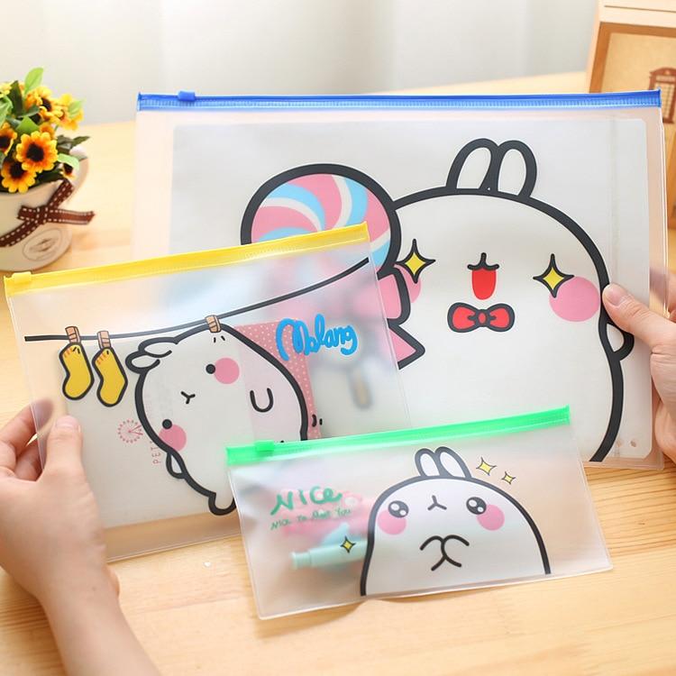 Folder Stationery PVC Zipper Potato Rabbit Paper Bag Paper Clip Office Document Folder Student Test Paper Bag Case