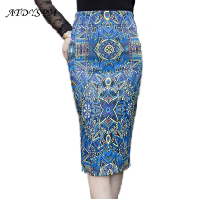 2017 Classic Vintage Women's Pencil Skirt Printed Skirts Female Plus Size Slim Hip Step Skirts High Waist Office OL Casual Skirt
