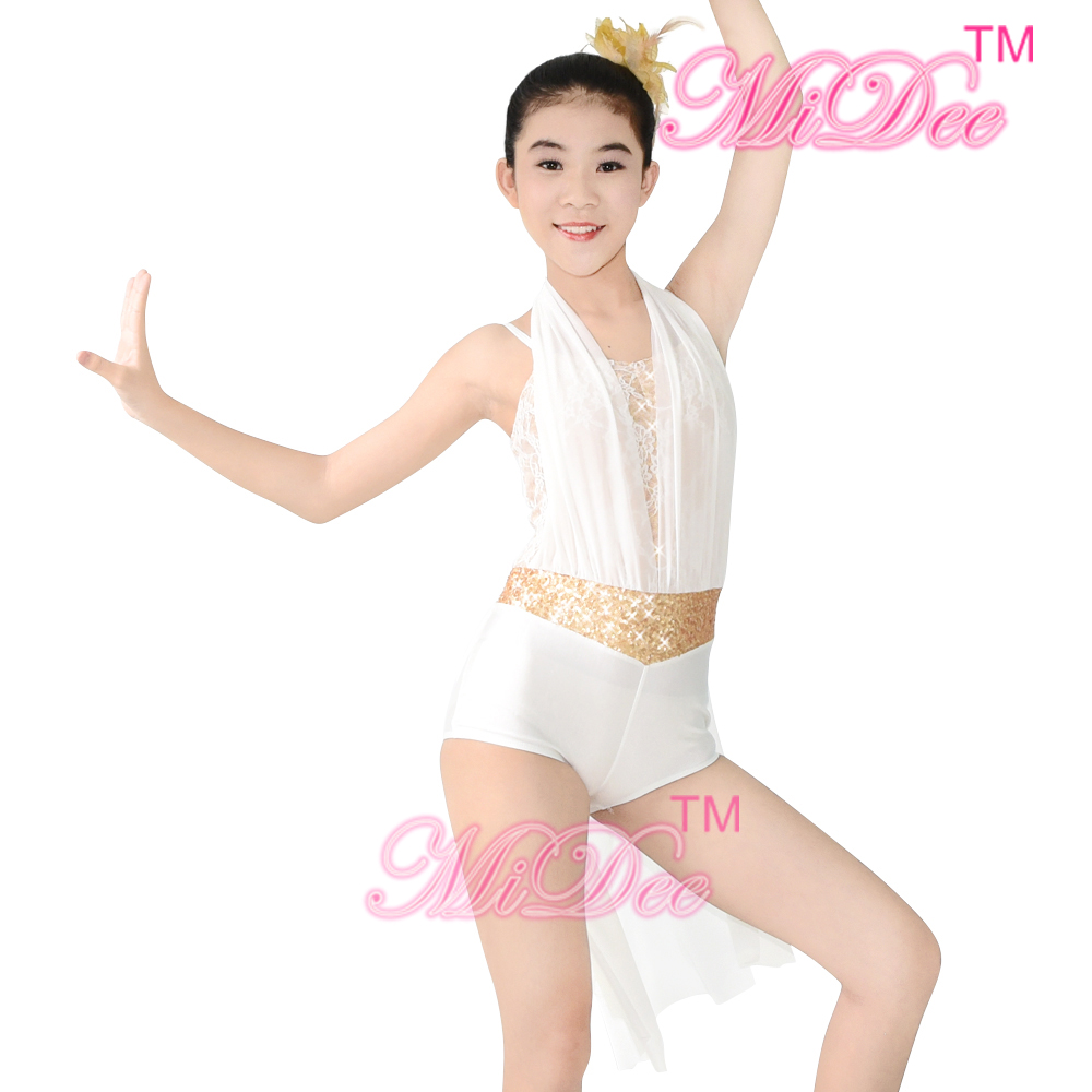 2d53af96f Lyrical Contemporary Costume Halter neck Half skirt Acr Jazz Latin Salsa  Ice Skating Gymnastics White Dance Dress-in Ballet from Novelty & Special  Use on ...