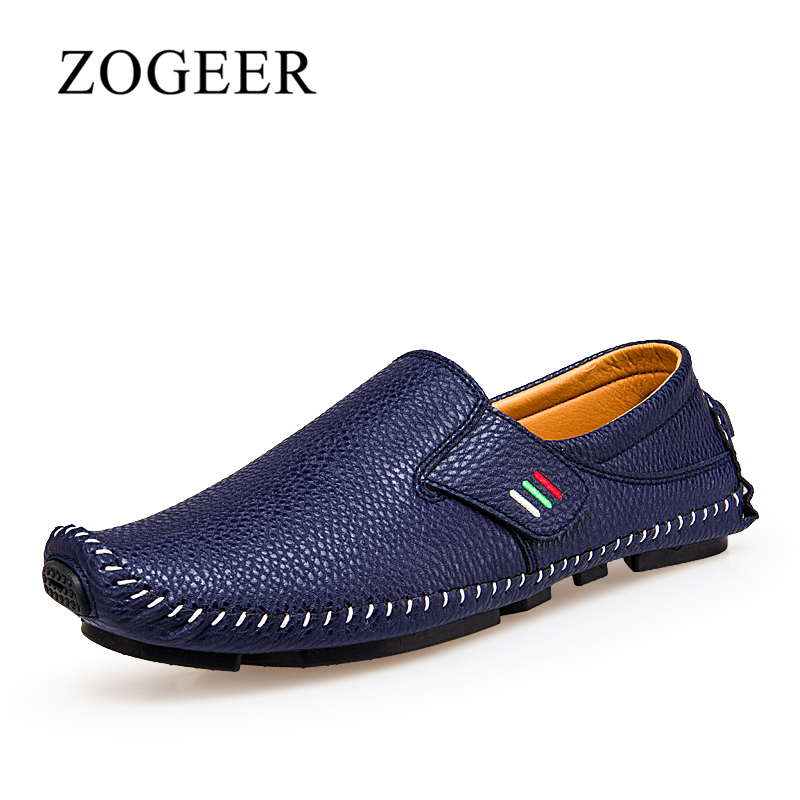 ZOGEER Men Loafers Spring Fashion , Soft Leather Brand Men's Casual Shoes, Simple Shoes For Men Slip On camel men s 2015 spring new leather men s shoes simple daily casual men loafers