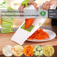 Mandoline Peeler Grater Vegetables Cutter with 5 Stainless Steel Blade Carrot Grater Onion Dicer Slicer Kitchen Accessories