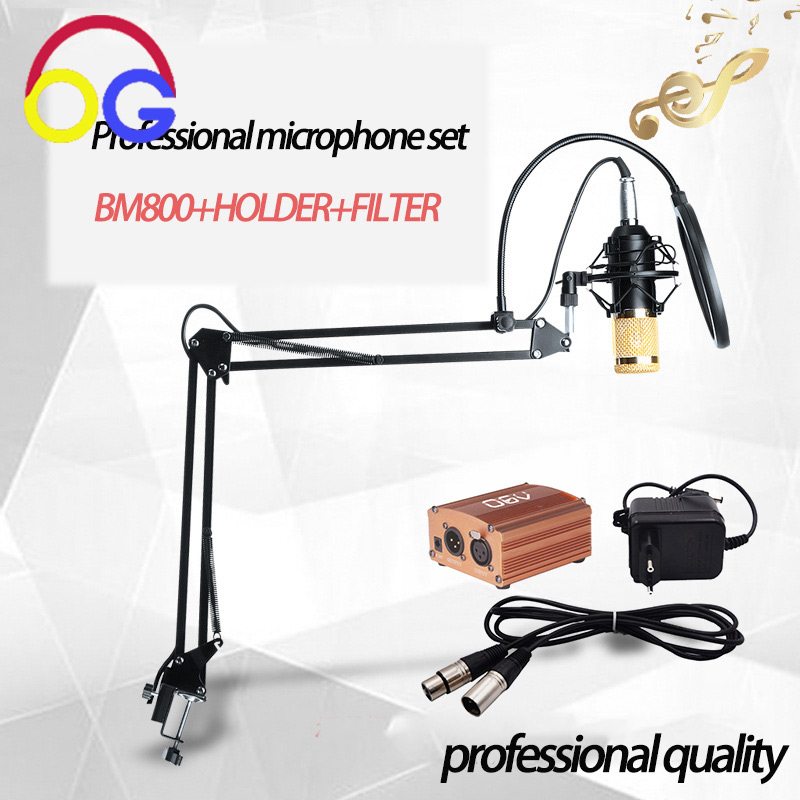 BM800 Professional Condenser Microphone Studio Sound Recording bm800 Stand Pop Filter Rrecording karaoke Mic Phantom power bm800 condenser microphone kit studio suspension boom scissor arm sound card 3 5mm wired vocal recording ktv karaoke microphone