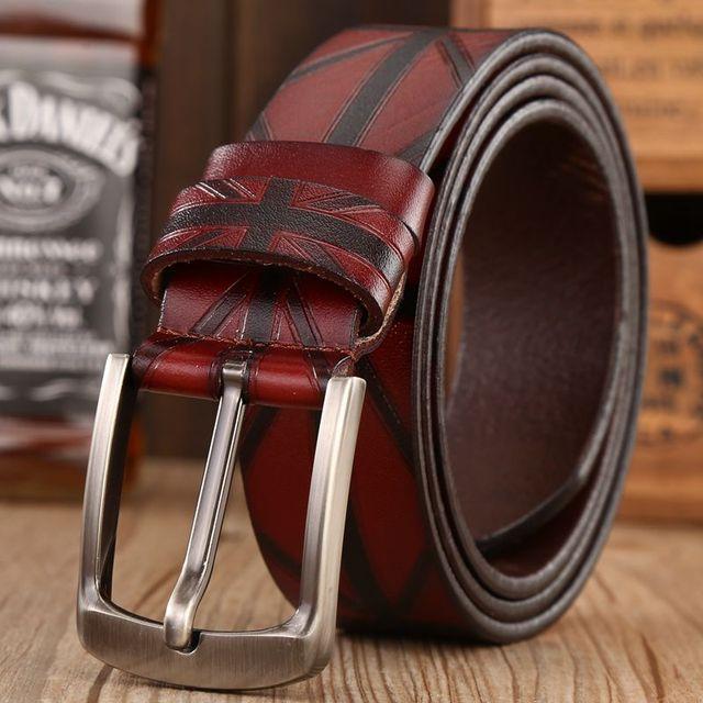 2018 Marque hommes ceintures en cuir véritable De Luxe drapeau britannique  motif designer ceinture haute qualité 49c8e217e78
