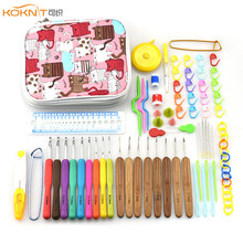KOKNIT Crochet Hook Needle Set 8pcs Bamboo Knitting Needles 9 Pcs Ergonomic Crochet Hooks For Knitting With Bag