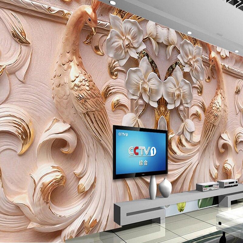 Custom Foto Tapete 3D Stereoskopischen Relief Pfau Schmetterling Floral  Hintergrund Wand Große Wandbilder Wallpaper Für Wohnzimmer TV