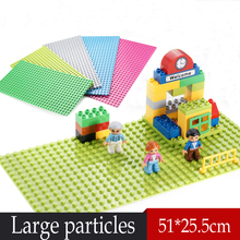 New Wang 1pcs Large particles Building Blocks Baseplate 32*16 Dots Size 51*25cm Base Plate Toys Compatible Legoe Duplo bricks