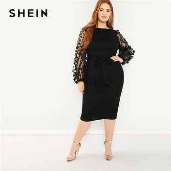 SHEIN Women Plus Size Elegant Black Pencil Dress With Applique Mesh Lantern Sleeve High Street Belted Slim Fit Party Dresses