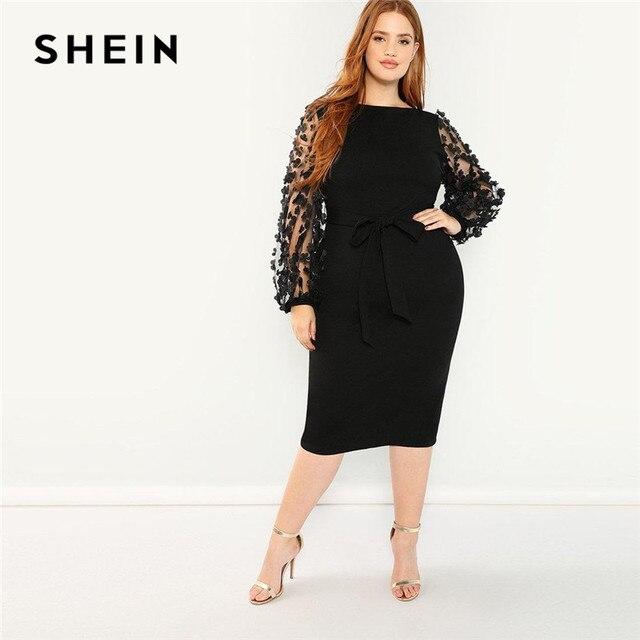 SHEIN Women Plus Size Elegant Black Pencil Dress With Applique Mesh Lantern Sleeve High Street Belted Slim Fit Party Dresses