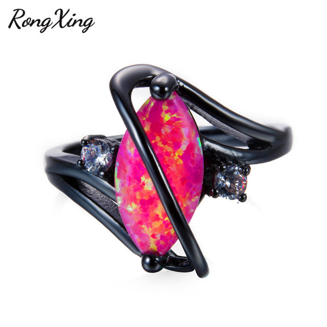 RongXing romantique rose opale de feu S anneaux pour les femmes Vintage noir or rempli CZ octobre anneaux de naissance bijoux de mode RB0981