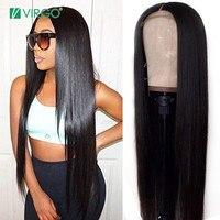 Прямые Синтетические волосы на кружеве человеческих волос парики для черный Для женщин перуанский 30 дюймов парик с ребенком волос естестве