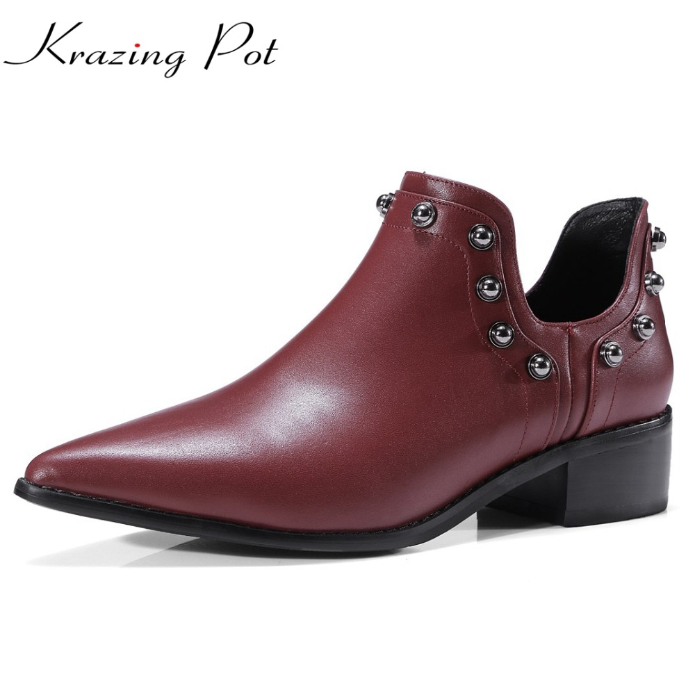 Krazing Pot genuine leather chaussure femme med heels ankle boots women pointed toe metal decoration rivets punk style boots L99 brogue boots women summer genuine leather black ankle med heels lace up oxford shoes botas feminina chaussure femme talon