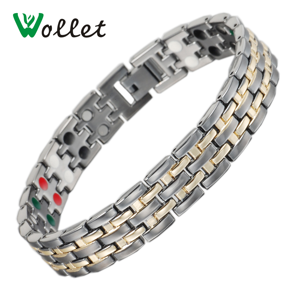 Wollet Jewelry Magnetic Stainless Steel Gold Bracelets Bangles for men 5 in 1 Infrared Ions Tourmaline Germanium Healing Care