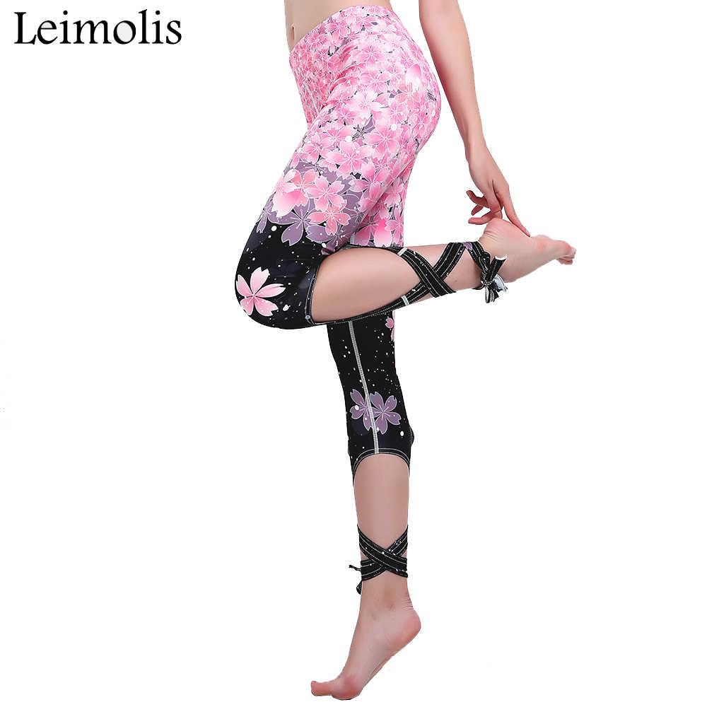 019bc5dd46068 Leimolis 3d print Cherry Blossom gothic bowknot ribbons plus size High  Waist workout punk rock fitness