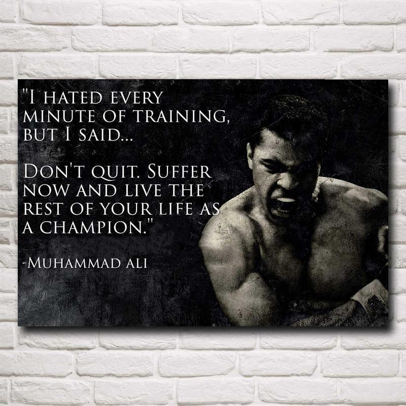 FOOCAME Muhammad Ali Boxer Kampioen Art Silk Posters en Prints Schilderen Home Decor Muur Foto Voor Woonkamer 24x36 inch