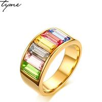 TYME 2017 New fashion products 9mm stainless steel gold color ring for woman jewelry rainbow gold color beautiful ring for woman