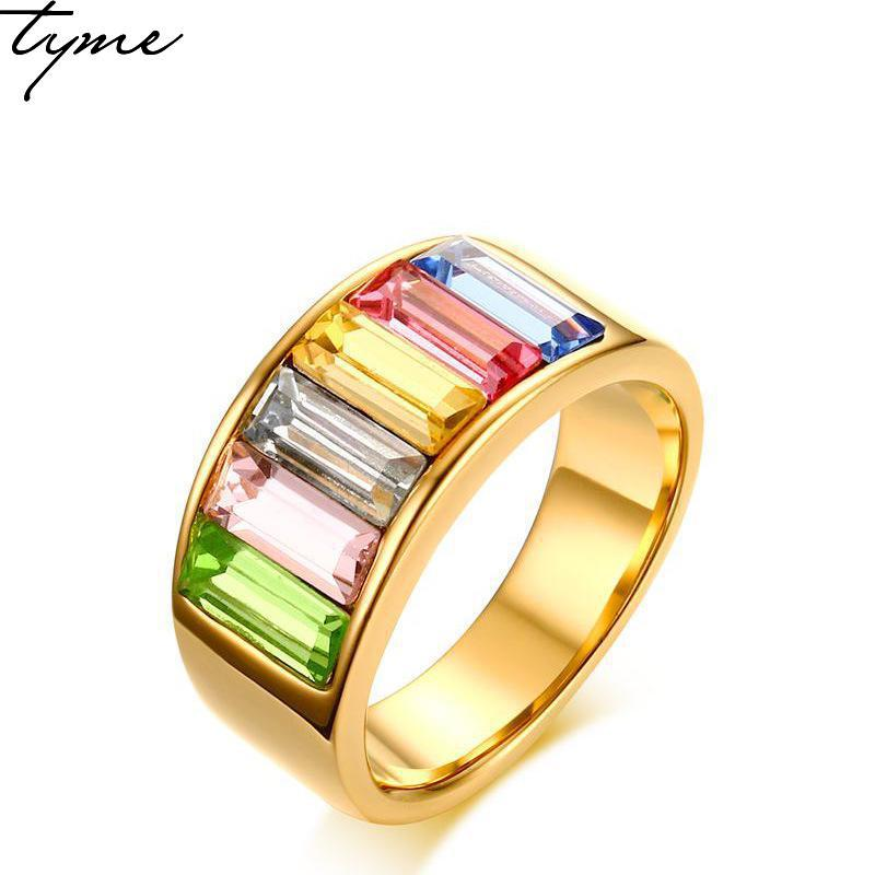 TYME 2017 New fashion products 9mm stainless steel gold-color ring for woman jewelry rainbow gold color beautiful ring for woman beautiful body temperature color changing finger ring random color