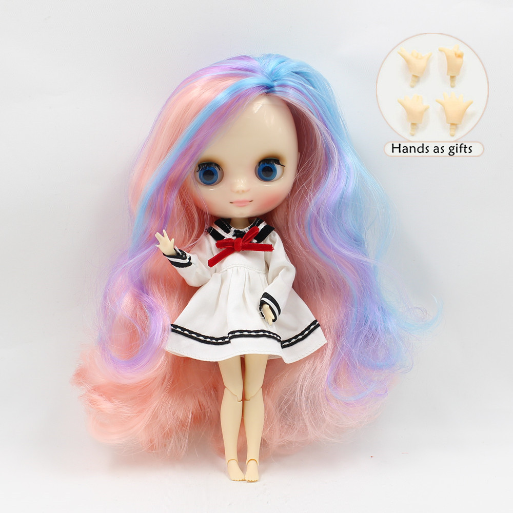 Free shipping Nude Middie blyth Doll BL1010/7216/6227 pink mix blue mix purple hair parting cut 1/8 doll(20cm) nude doll ayanami rei blue hair 6203