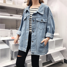 2018 New Women Denim Jacket Light Washed Spring Blue Color Women's Long Sleeve Turn-down Collar Single Breasted Jeans Coats