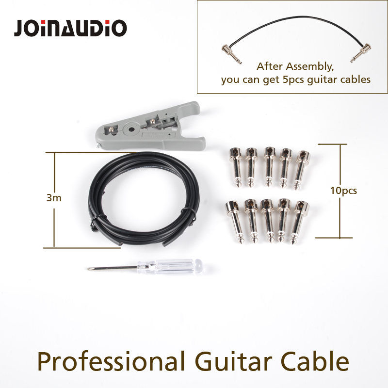 JOINAUDIO DIY Guitar Cable Pedal Board Copper Cable Kit Set 10ft with 10 Solderless 6 35