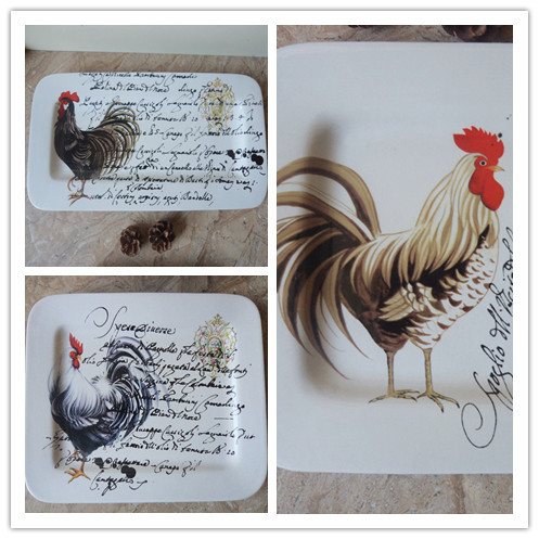 Tiany Xiong chicken dish painted four large rectangular tray plate home decor trade ceramic tableware plate & Tiany Xiong chicken dish painted four large rectangular tray plate ...