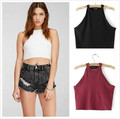 New Fasion Sex Womens Crop Top Neck Sleeveless T shirt Dew waist Cropped Vest XS-XL Black Write Red Hot sale wholesale drop ship