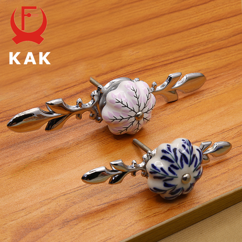 KAK 41mm China Blue And White Porcelain Ceramic Cabinet Handle And Pulls Kitchen Handles Drawer Knobs Furniture Handle And Knobs