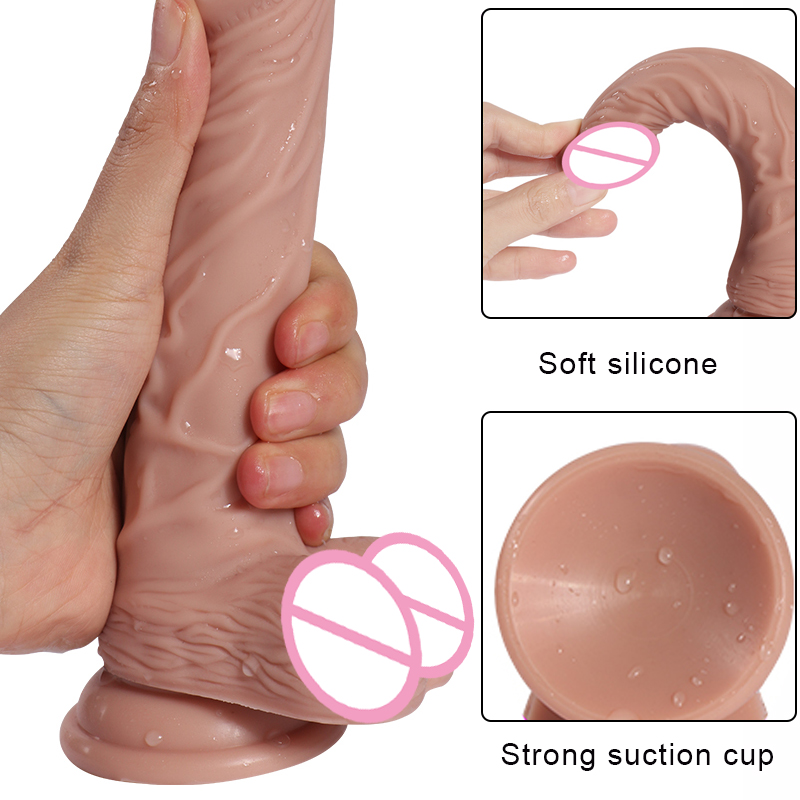 Super Skin Huge Realistic <font><b>Dildo</b></font> for Women with Suction Cup Artificial Big Penis Dick Masturbator Erotic G Point Adult Sex Toys image