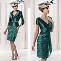 2015 Mother Of The Bride Dresses Sheath V-neck Knee Length Green Lace With Jacket Evening Dresses Mother Dresses For Weddings