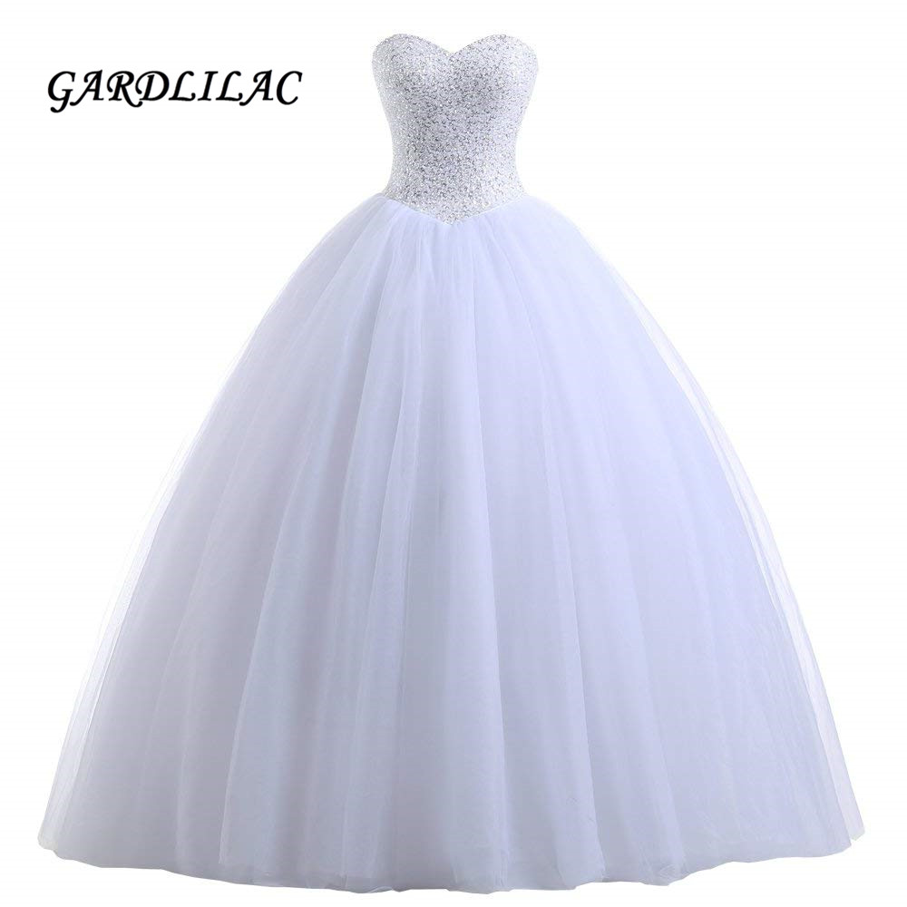 Jeweled Ball Gown Wedding Dresses: 2019 Women's White Ball Gown Bridal Wedding Dresses Beaded
