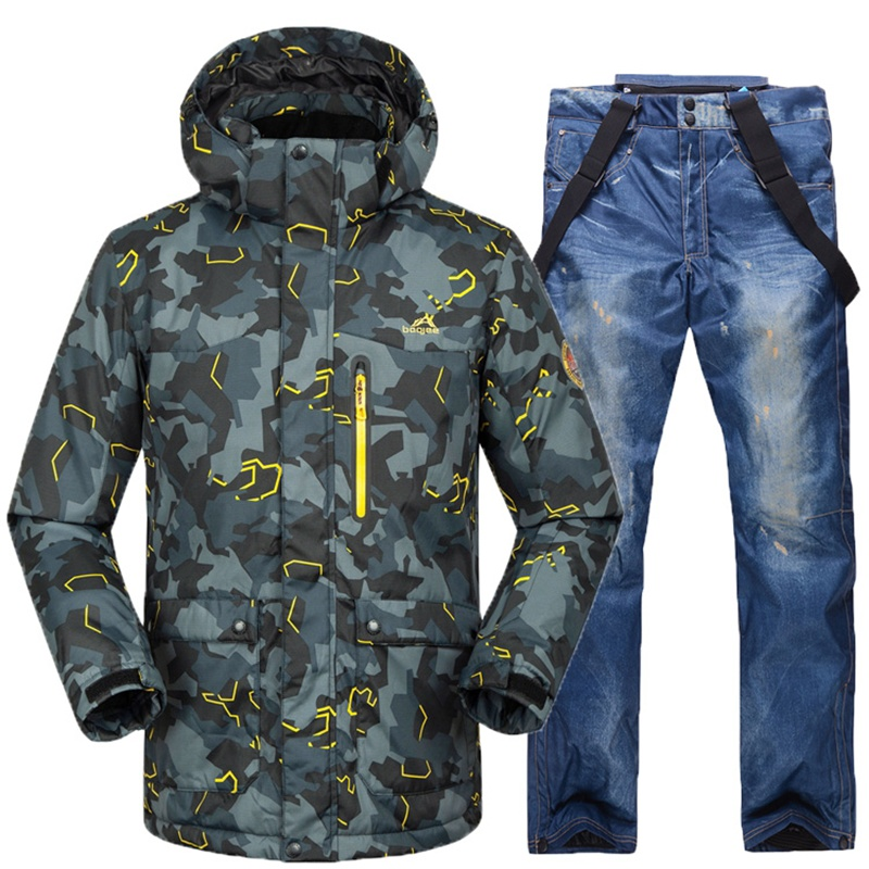 Camo Printed Ski Suit Male Waterproof Men Skiing Snowboard Jacket and Pant Clothing skiing Suit Set
