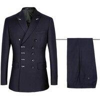 2018 new fashion double row deep blue men's professional business casual suit set