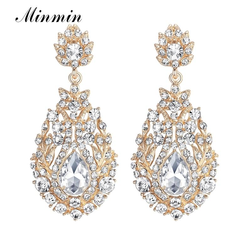 Minmin Luxury Crystal Long Earrings for Women Rhinestone Gold Color Hanging Earrings 2017 Fashion Wedding Jewelry