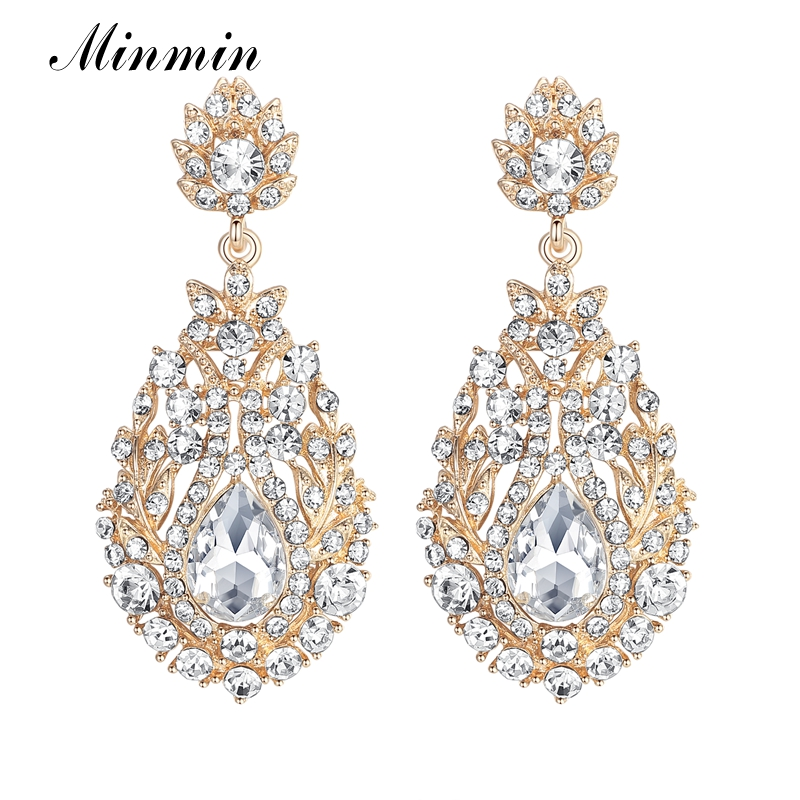 Minmin Luxury Long Earrings for Women Bohemia Style Gold Color Dangle Earrings With Crystal Free Shipping
