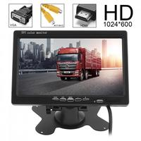 7 Inch HD 1024x600 TFT LCD Color Screen Car Rear View Monitor 2 Video Input DVD VCD Headrest Vehicle Monitor Support HDMI VGA
