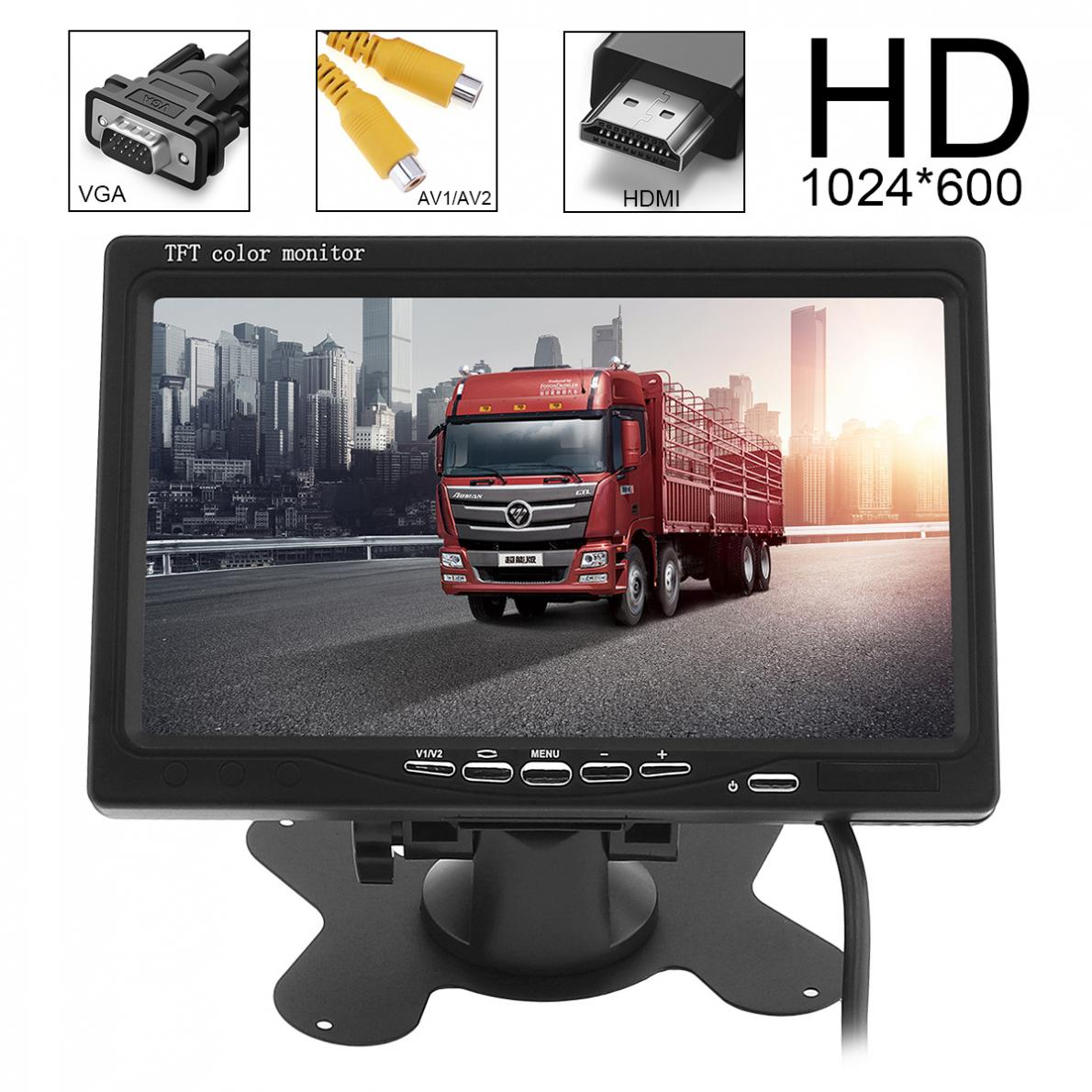 7 дюймов HD 1024x600 TFT ЖК-дисплей Цвет Экран заднего вида монитор 2 видео Вход DVD VCD подголовник монитор автомобиля Поддержка HDMI VGA