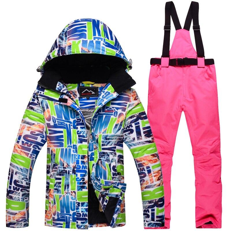 2019 femme chaud imperméable à l'eau hiver veste de Ski snowboard costumes respirant neige montagne Ski costume femmes Ski costume - 5
